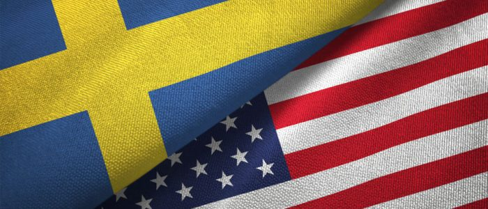 Sweden and United States two flags textile cloth, fabric texture