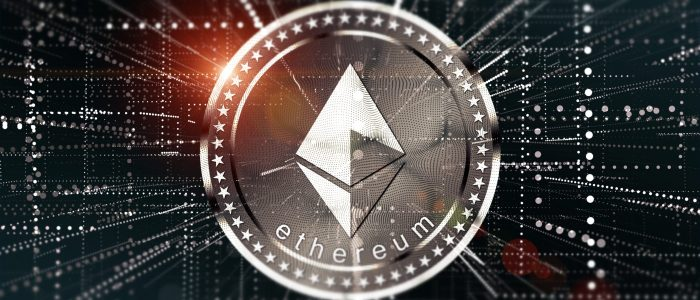 Virtual Ethereum crypto-currency background