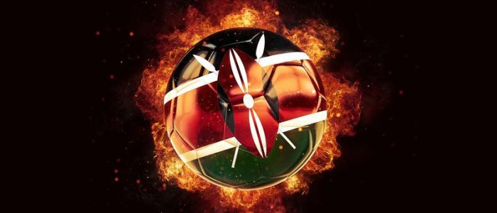 Football in flames with flag of kenya