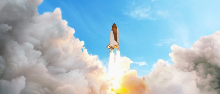 Space shuttle taking off on a mission. Spaceship flying