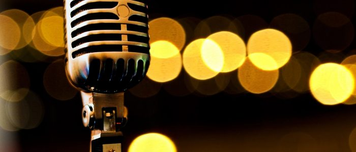 9301407 - musical background with microphone and stage lights