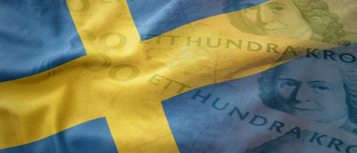 Colorful,Waving,National,Flag,Of,Sweden,On,A,Swedish,Crown